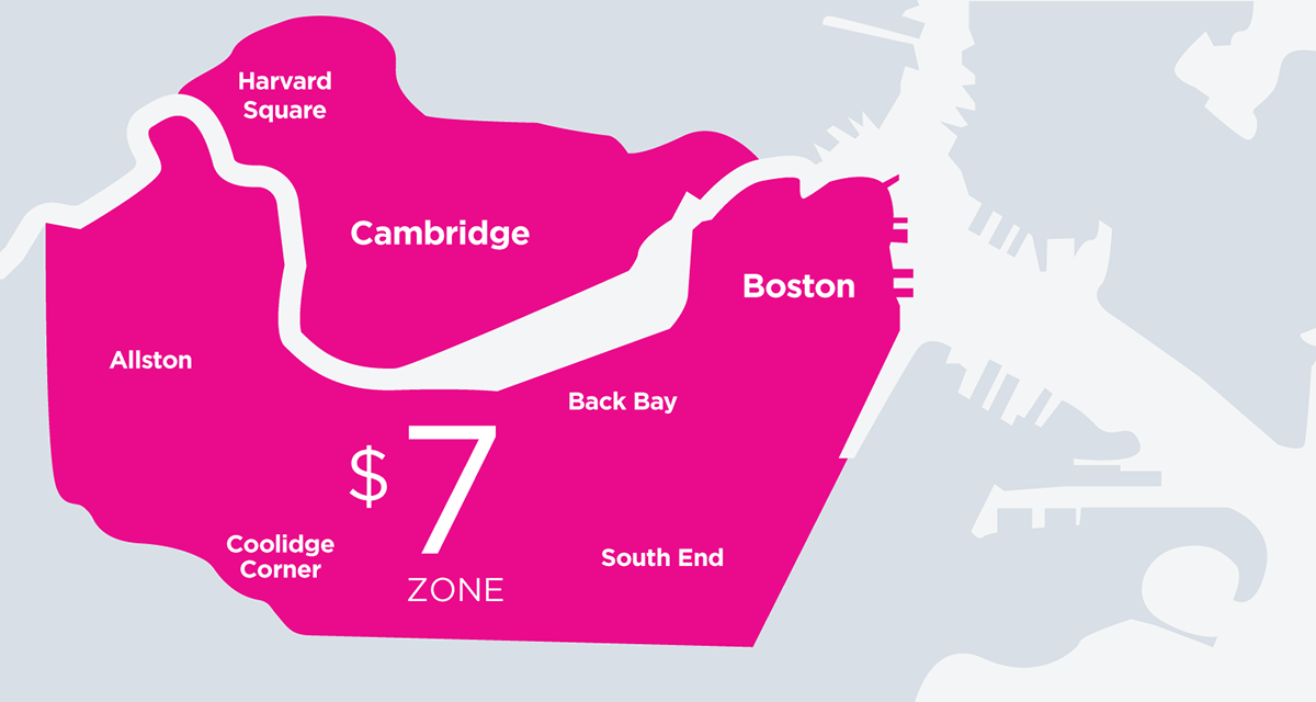 Lyft's $7 fare zone. Graphic courtesy of Lyft.