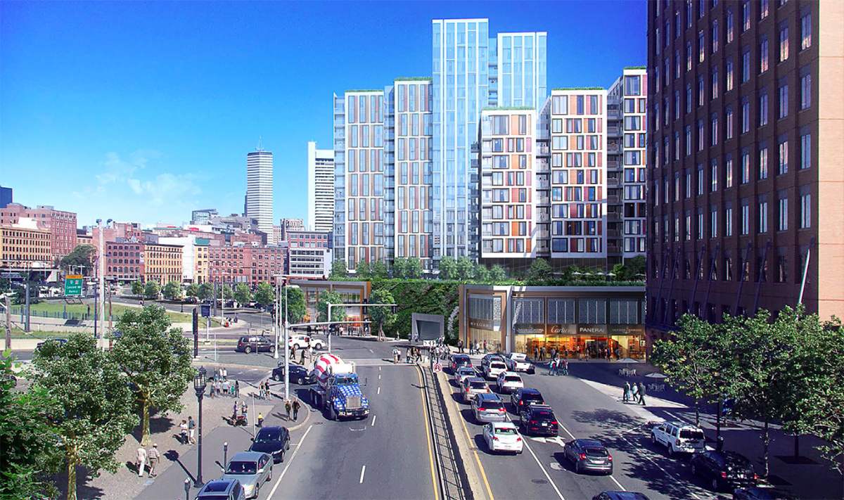 View of M1 & M2 parcells of Seaport Square project. Via Boston Redevelopment Authority