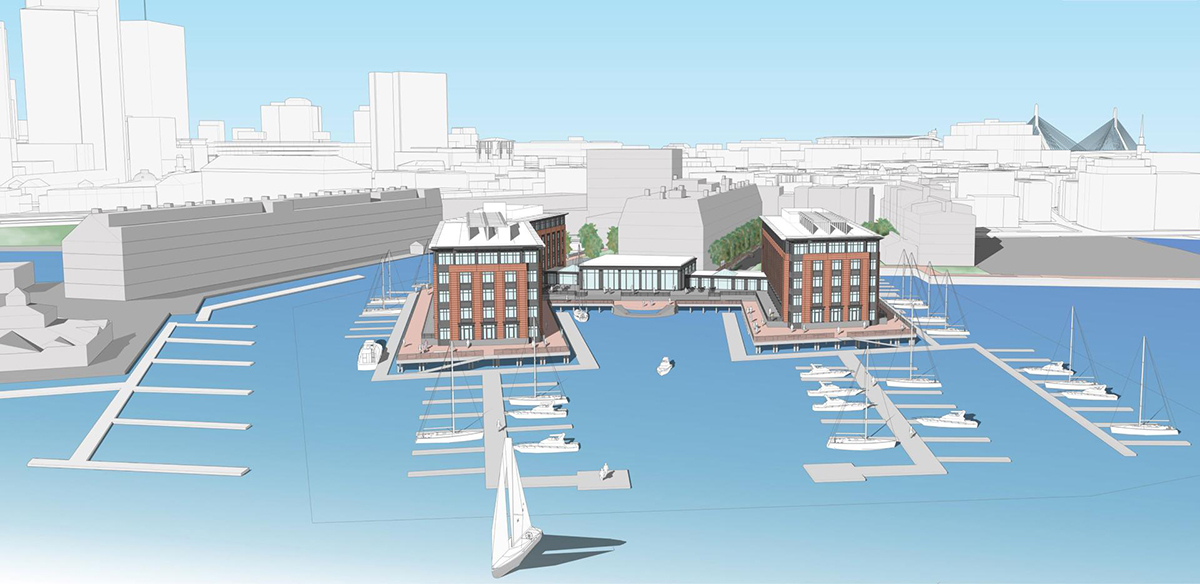 Planned hotel on Lewis Wharf. Rendering via Tiitman Architects