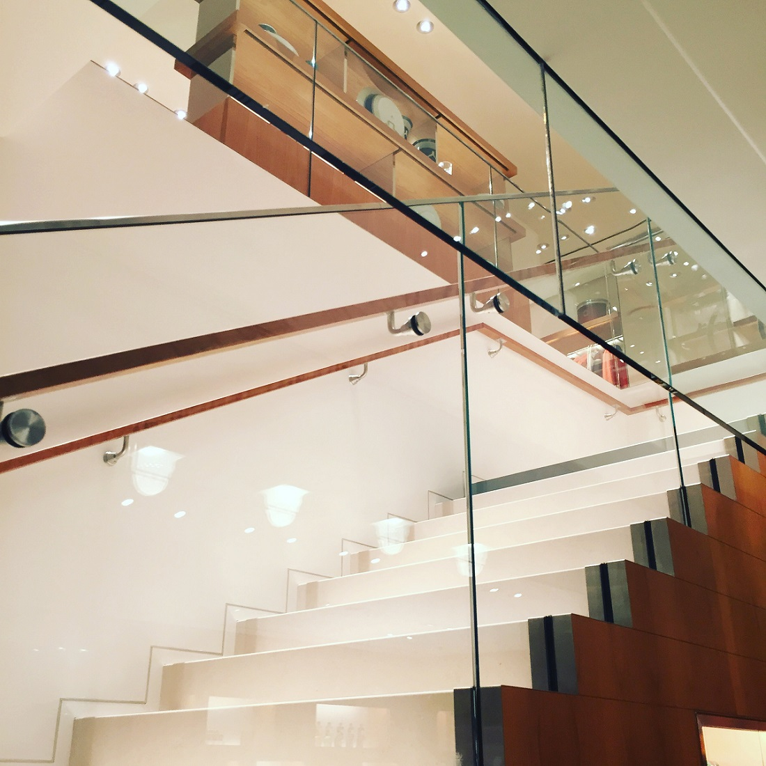 The gorgeous centerpiece staircase in Boston's new Hermès showroom.