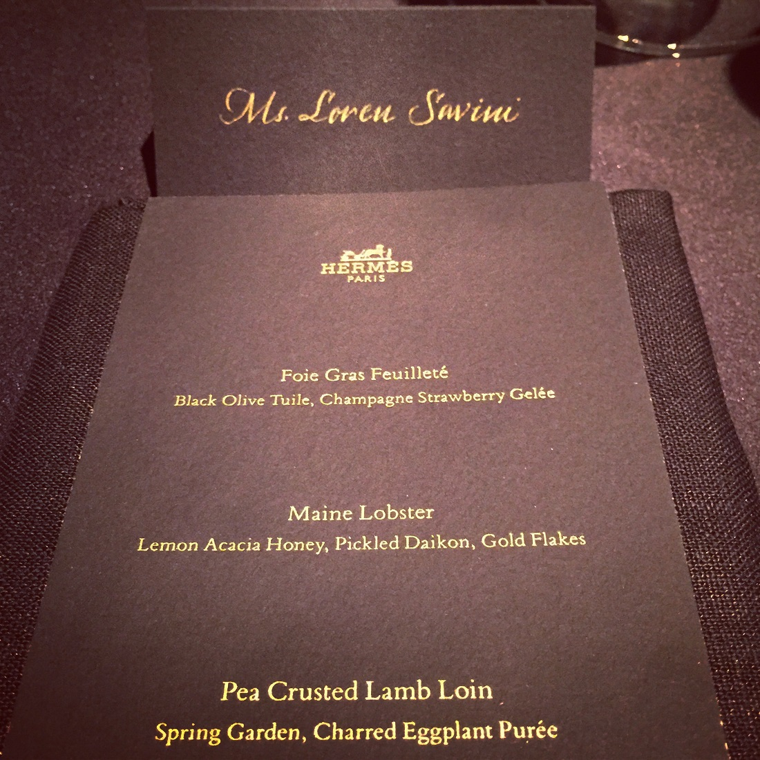 The menu for last night's exclusive dinner party.