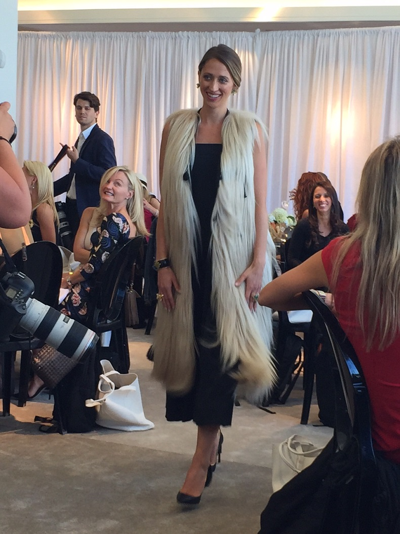 Ashley Kelly, wife of pitcher Joe Kelly in a Helmut Lang dress and Lanvin fur jacket.