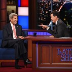 Secretary of State John Kerry on The Late Show with Stephen Colbert, Thursday Oct. 1, 2015 on the CBS Television Network. Photo: Jeffrey R. Staab/CBS ©2015 CBS Broadcasting Inc. All Rights Reserved