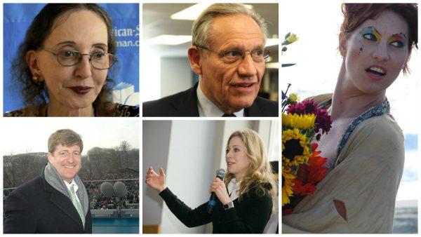 Clockwise from upper left: Joyce Carol Oates, Bob Woodward, Amanda Palmer, Chelsea Clinton, Patrick Kennedy