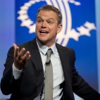 Actor Matt Damon speaks about clean water initiatives at the Clinton Global Initiative in New York, Tuesday, Sept. 23, 2014.  President Barack Obama also attended the event and spoke after Matt Damon. (AP Photo/Pablo Martinez Monsivais)