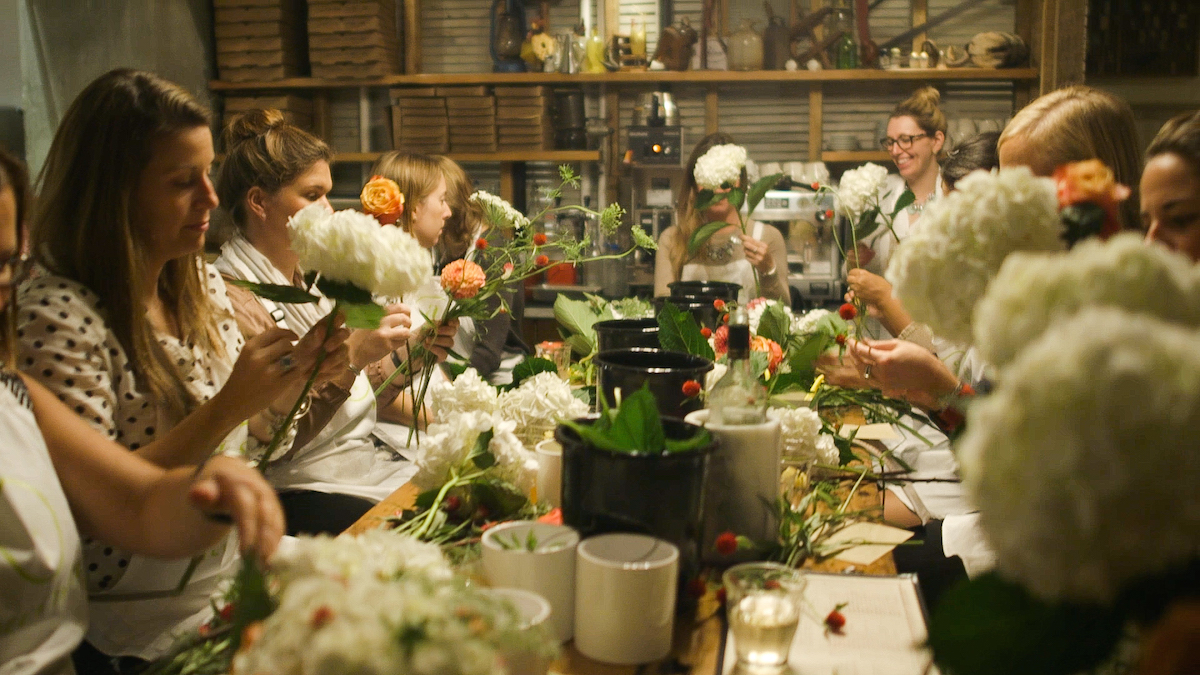 Enjoy Cocktails While Flower Arranging At Alices Table