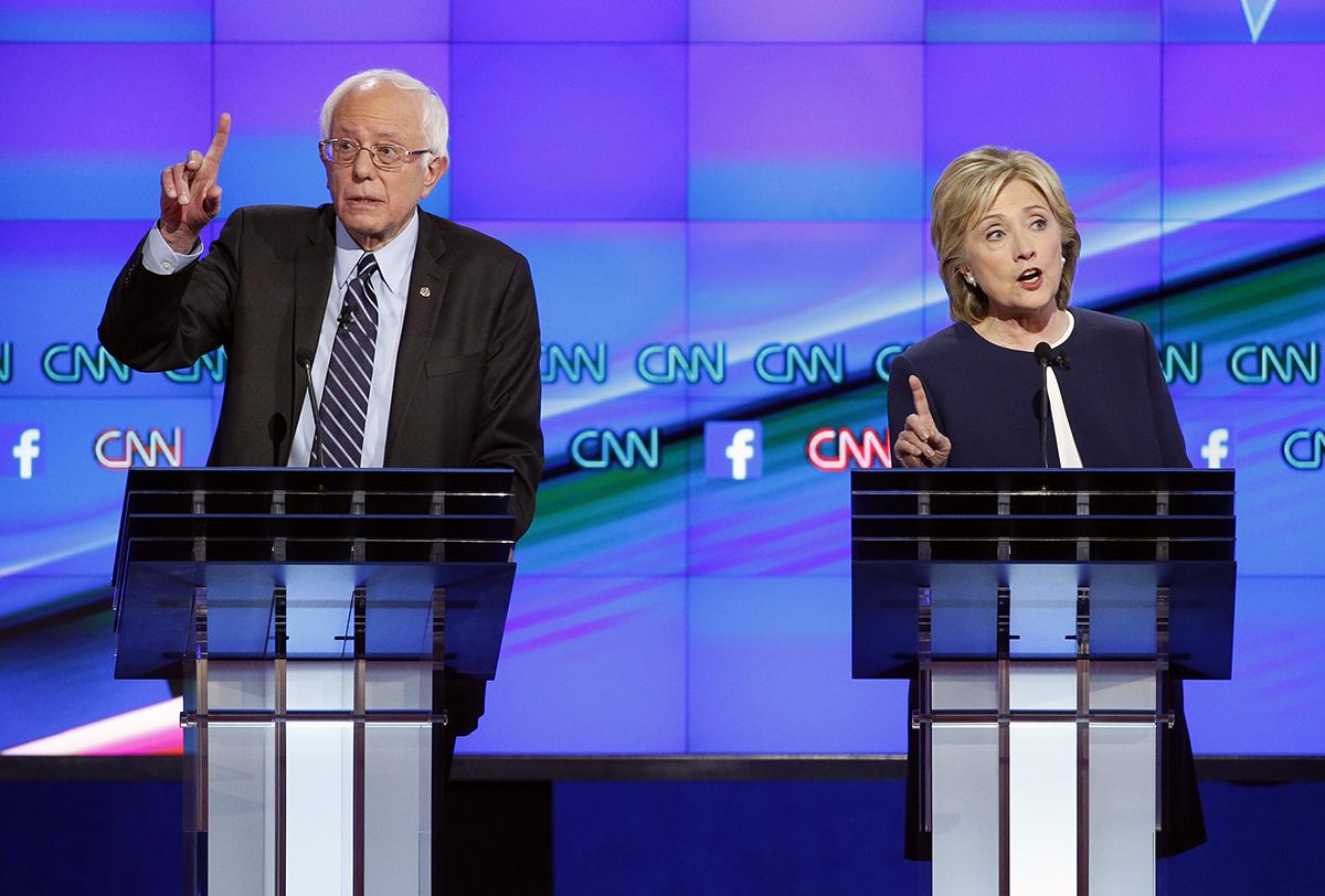 Senator Bernie Sanders and former Secretary of State Hillary Clinton at the CNN debate. Via AP