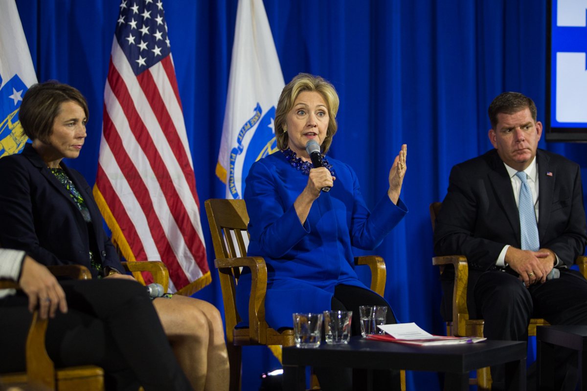Attorney General Maura Healey, former Secretary of State Hillary Clinton, and Mayor Marty Walsh. Photo by Sarah Fisher