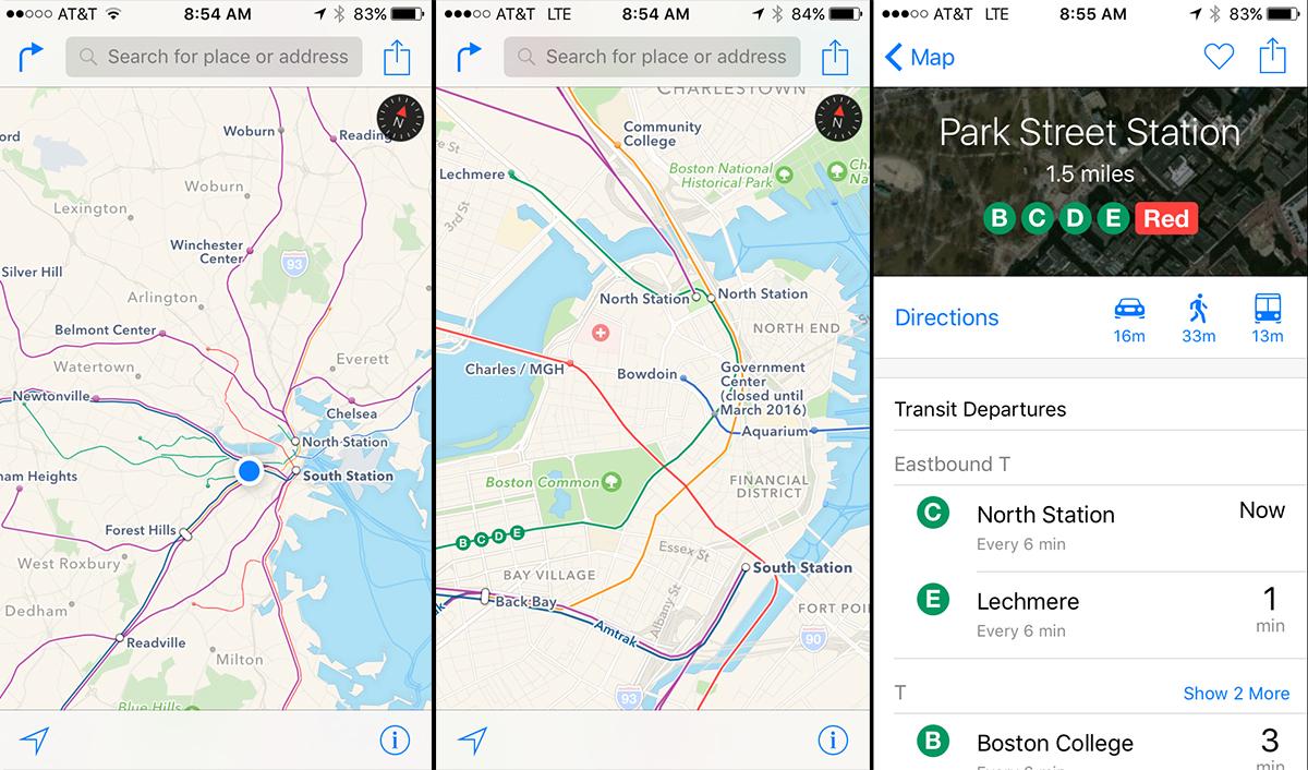 Apple Maps Boston MBTA