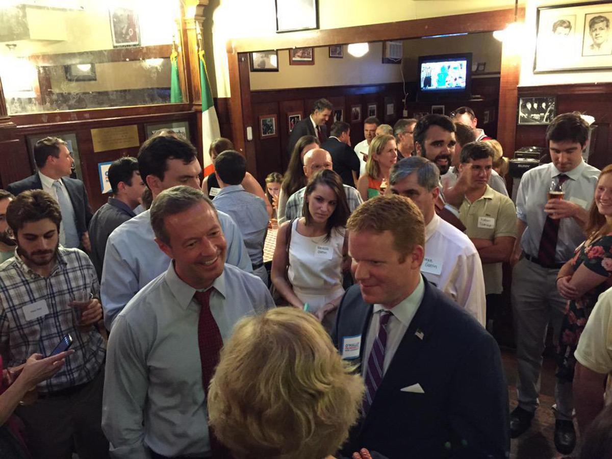 Former Maryland Governor Martin O'Malley and City Councilor Matt O'Malley at Doyle's in Jamaica Plain. Photo via Matt O'Malley