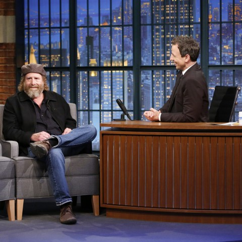 LATE NIGHT WITH SETH MEYERS -- Episode 279 -- Pictured: (l-r) Comedian Steven Wright during an interview with host Seth Meyers on October 28, 2015 -- (Photo by: Lloyd Bishop/NBC)