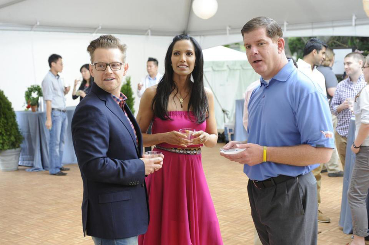 Padma Lakshmi and Marty Walsh on the set of Top Chef Boston in 2014. Photo by David Moir/Bravo
