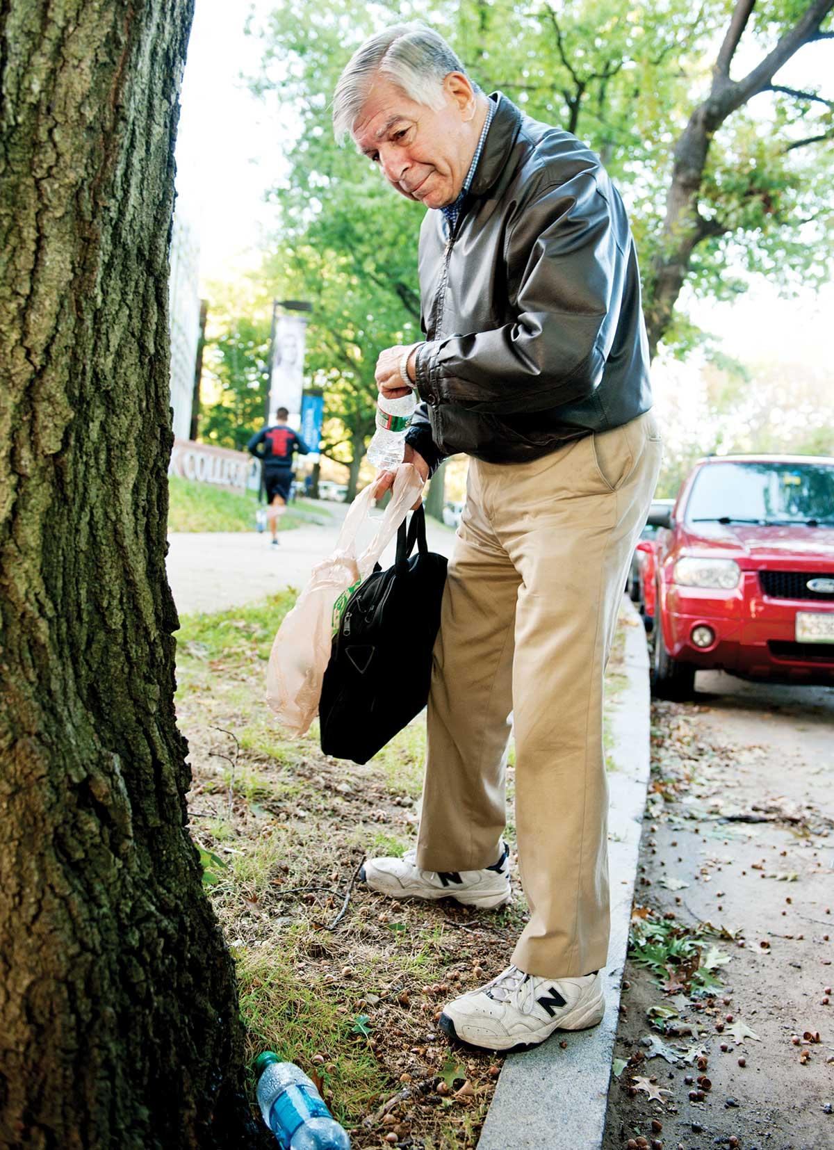 mike dukakis picking up trash