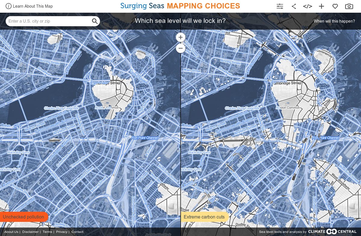 Map Shows Boston Might Go Underwater After - Us pollution map