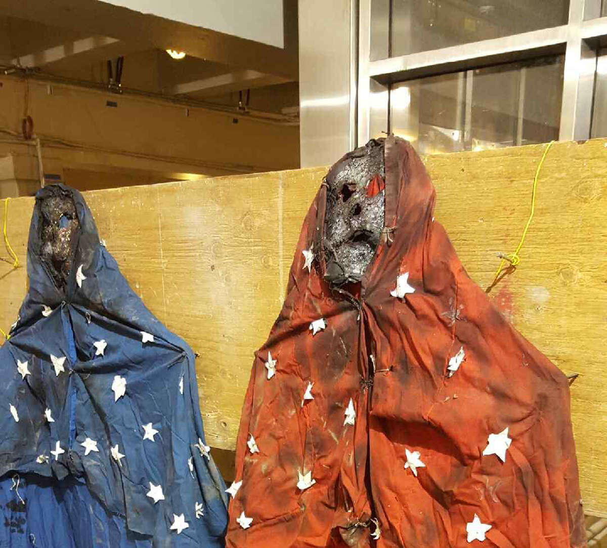 The MBTA discovered these ghoulish figures at Government Center. Photo by Joe Pesaturo via MBTA