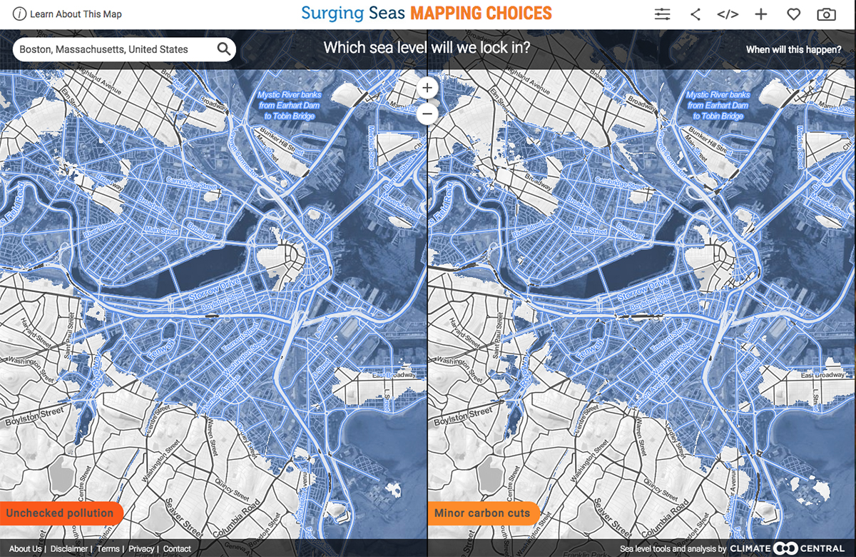 Map Shows Boston Might Go Underwater After 2100 - Boston-on-a-us-map