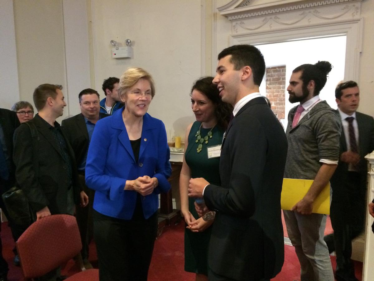 Warren meets with Goldberg and Rosenkrantz. Photo by Kyle Clauss
