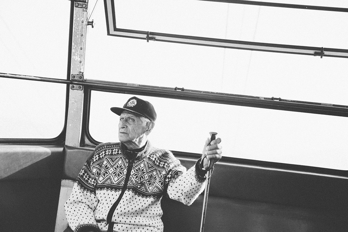 Joe Lahout on the Cannon Tramway. Photo by Christopher Baldwinch via Lahout's