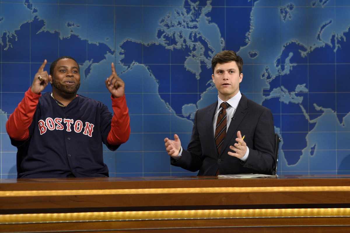 """SATURDAY NIGHT LIVE -- """"Matthew McConaughey"""" Episode 1689 -- Pictured: (l-r) Kenan Thompson as David """"Big Papi"""" Ortiz and Colin Jost during Weekend Update on November 21, 2015 -- (Photo by: Dana Edelson/NBC)"""