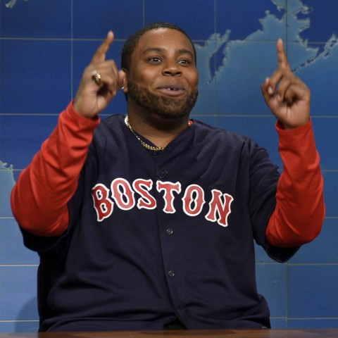"SATURDAY NIGHT LIVE -- ""Matthew McConaughey"" Episode 1689 -- Pictured: (l-r) Kenan Thompson as David ""Big Papi"" Ortiz and Colin Jost during Weekend Update on November 21, 2015 -- (Photo by: Dana Edelson/NBC)"