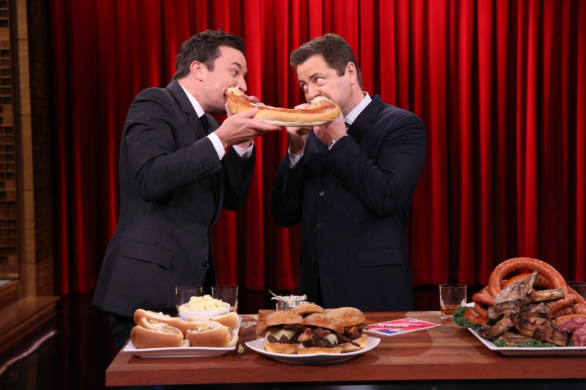 THE TONIGHT SHOW STARRING JIMMY FALLON -- Episode 0363 -- Pictured: (l-r) Host Jimmy Fallon joins actor Nick Offerman for a Meat Demo on November 9, 2015 -- (Photo by: Douglas Gorenstein/NBC)