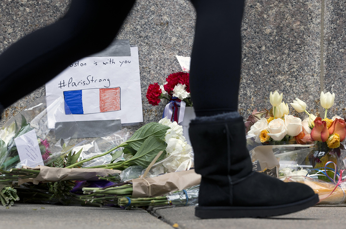 Flowers at the French Consulate in Boston. Photo via AP