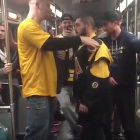 Bruins fans somersault