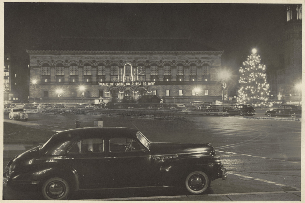 1940s copley square christmas decorations by boston public library via flickr