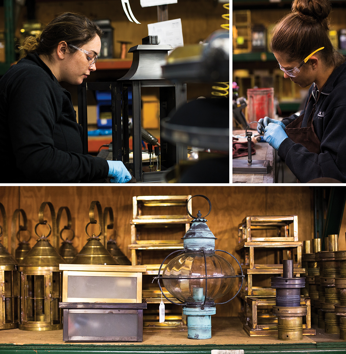 "Clockwise from top, a worker applies a finish to a ""Concord"" fixture; wiring a wall sconce with a candelabra socket requires precision; prior to installing glass, a craftsman ­inspects the top of a fixture to ensure proper fitting; the ""Heal"" and ""Onion"" fixtures are among Northeast Lantern's most popular items. / Photographs by Pat Piasecki"