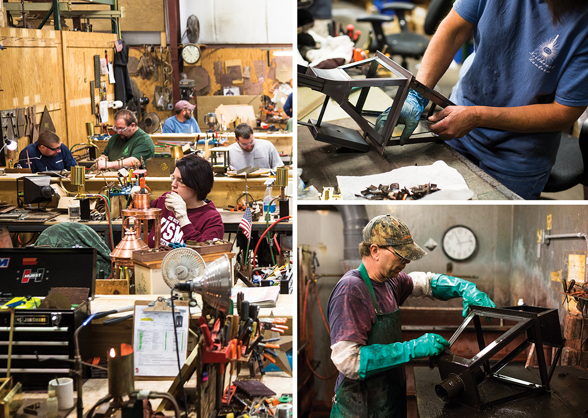 Clockwise from left, the Exeter, New Hampshire, workshop boasts 21 soldering stations where craftspeople work individually and in teams; a fixture is outfitted with glass panels that are cut in-house; finishes are hand-applied after the metal parts are cleaned / Photographs by Pat Piasecki
