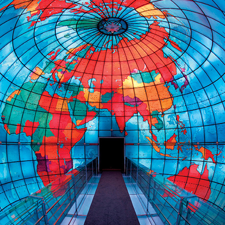 Designed by architect Chester Lindsay Churchill, the Mapparium features 608 stained glass panels. / Photograph courtesy of the Mary Baker Eddy Library