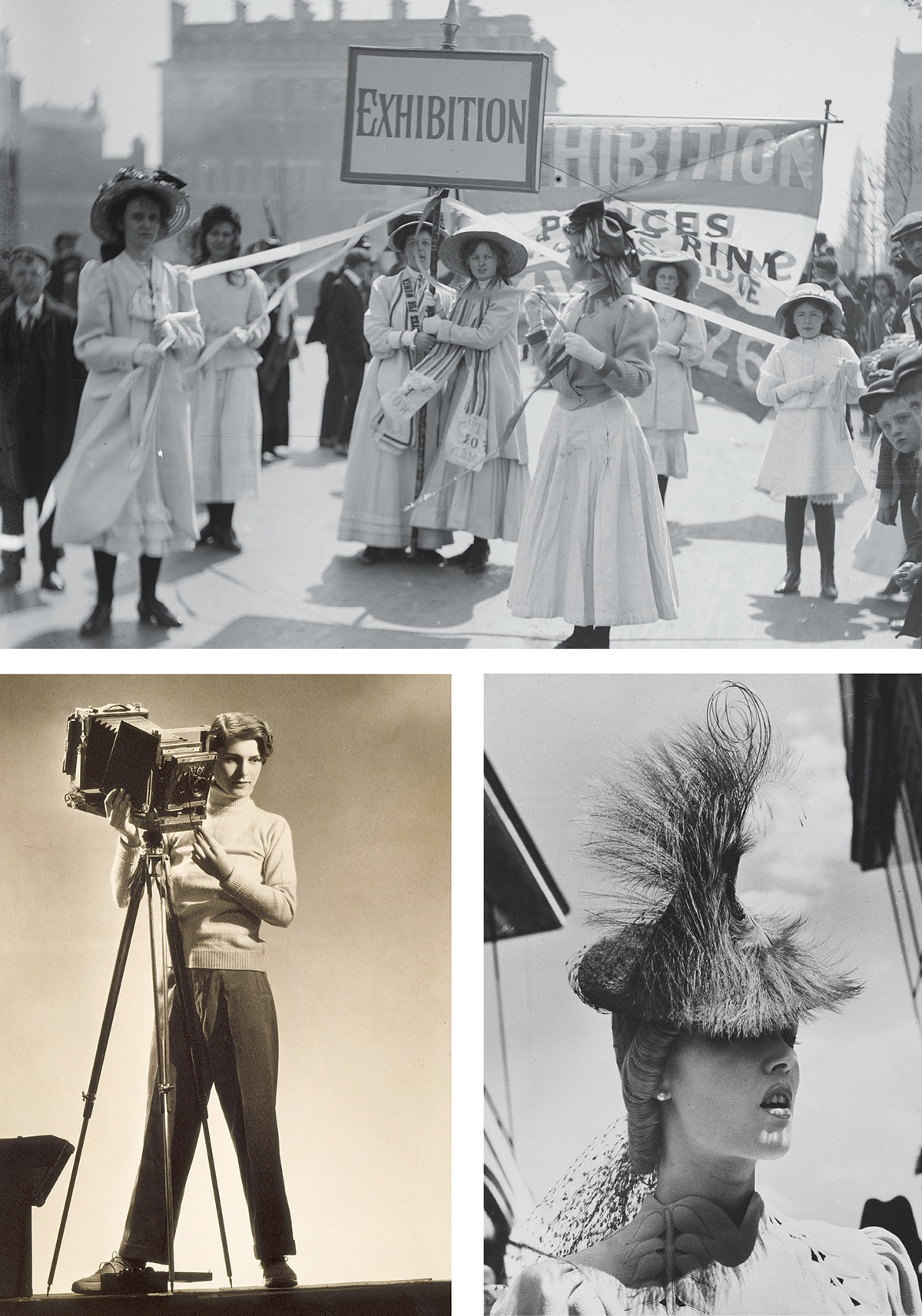 Photographs courtesy of the Musée d'Orsay (Jeunes suffragettes faisant la promotion de l'exposition de la Women's Exhibition de Knightsbridge, Londres, Mai 1909, by Christina Broom, courtesy of Museum of London; Self-portrait with camera, by Margaret Bourke-White, courtesy of Los Angeles County Museum of Art, Digital Image Museum Associates/Art Resource NY/Scala, Florence; Beim Rennen in Longchamp, 1936, by Regina Relang, courtesy of Münchner Stadtmuseum, Sammlung Fotografie, Archiv Relang)