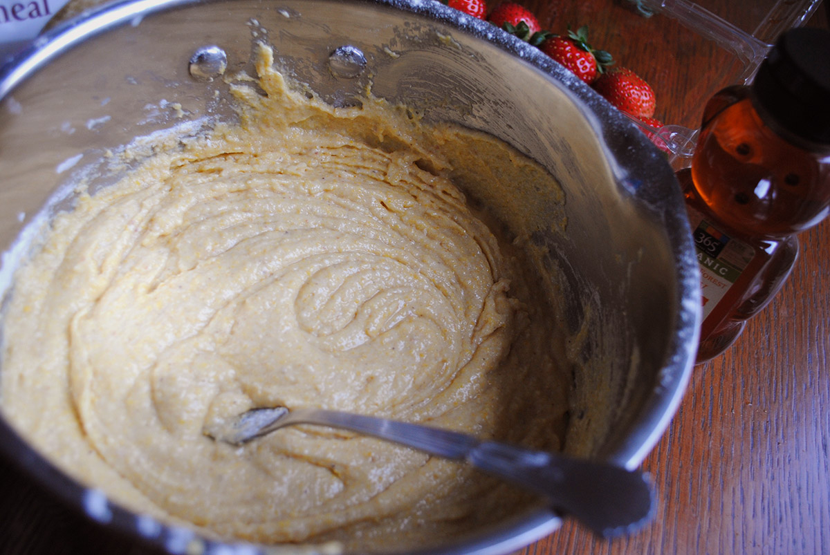 Strawberry Cornbread batter