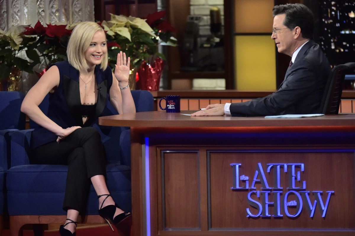 Late Show with Stephen Colbert with guest Jennifer Lawrence . Photo: John Paul Filo/CBS ©2015CBS Broadcasting Inc. All Rights Reserved