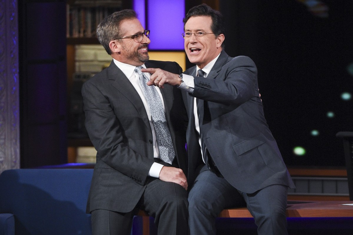 Actor Steve Carell on The Late Show with Stephen Colbert, Monday Dec. 7, 2015 on the CBS Television Network. Photo: Jeffrey R. Staab/CBS ©2015 CBS Broadcasting Inc. All Rights Reserved