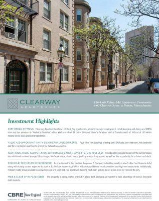 Exhibit # 2 - CBRE marketing brochure for Clearway Street sale.pdf-1