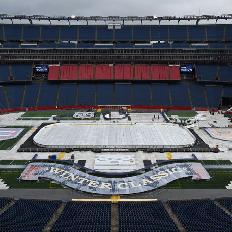 FOXBORO, MA - DECEMBER 27 : Workers prepare the field for the 2016 NHL Bridgestone Winter Classic at Gillette Stadium on December 27, 2015 in Foxboro, Massachusetts.  (Photo by Brian Babineau/NHLI via Getty Images)