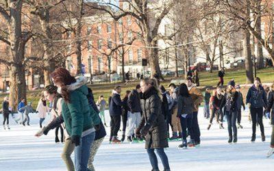 Ice skating on Boston Common Frog Pond