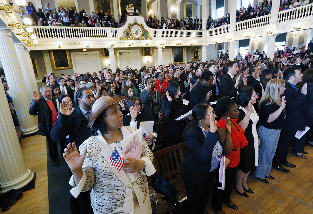 Naturalization ceremony at Faneuil Hall in 2015