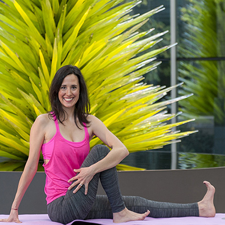 Instructor Sara DiVello demonstrates yoga poses as part of promotion for the upcoming Namaste Saturdays program at the Museum of Fine Arts, Boston.Ruth and Carl J. Shapiro Family CourtyardNovember 18, 2015*Photograph © Museum of Fine Arts, Boston