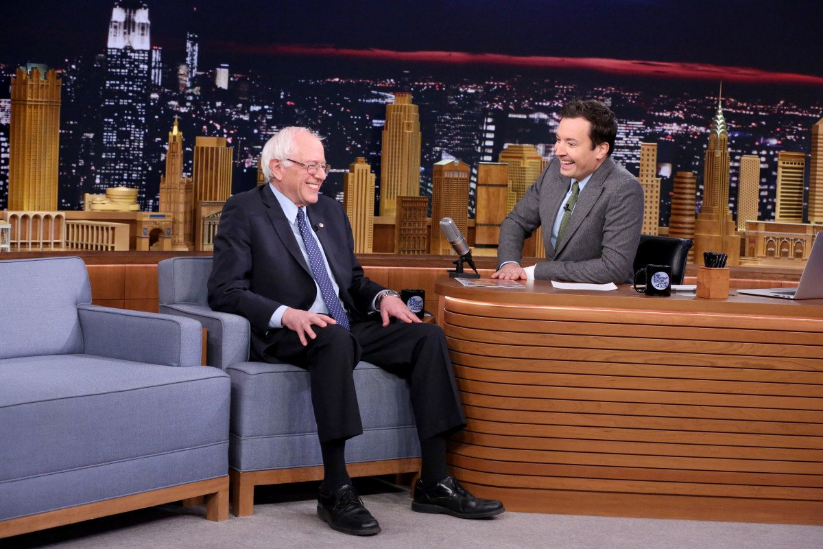 THE TONIGHT SHOW STARRING JIMMY FALLON -- Episode 0383 -- Pictured: (l-r) Senator Bernie Sanders during an interview with host Jimmy Fallon on December 8, 2015 -- (Photo by: Douglas Gorenstein/NBC)