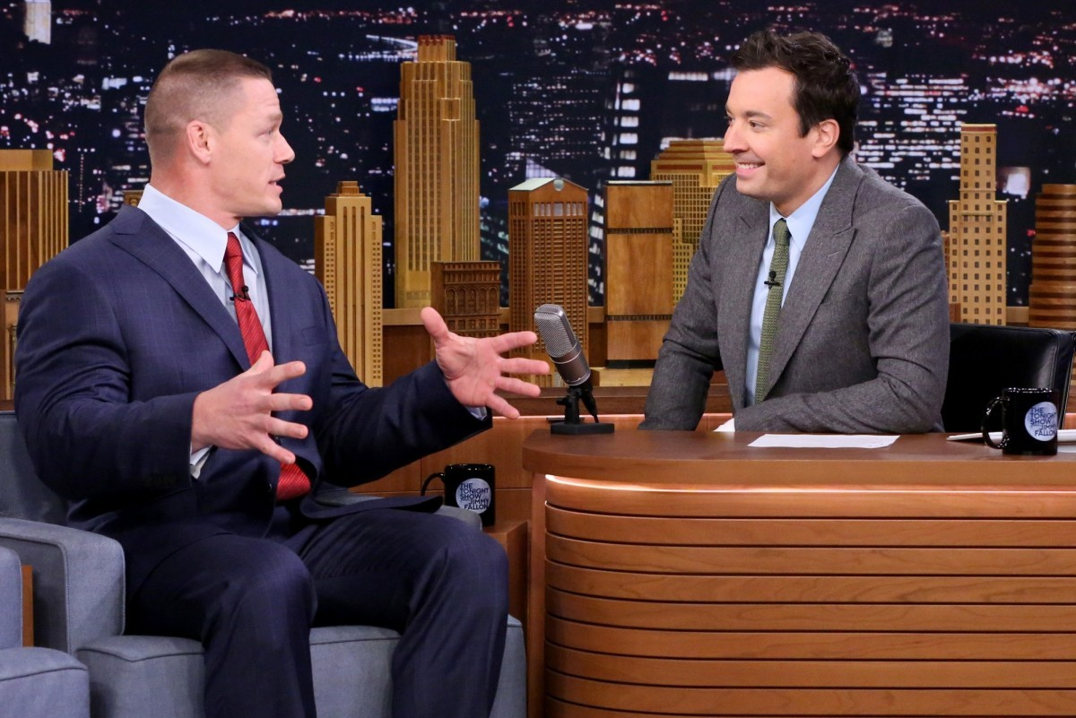 THE TONIGHT SHOW STARRING JIMMY FALLON -- Episode 0383 -- Pictured: (l-r) Actor John Cena during an interview with host Jimmy Fallon on December 8, 2015 -- (Photo by: Douglas Gorenstein/NBC)
