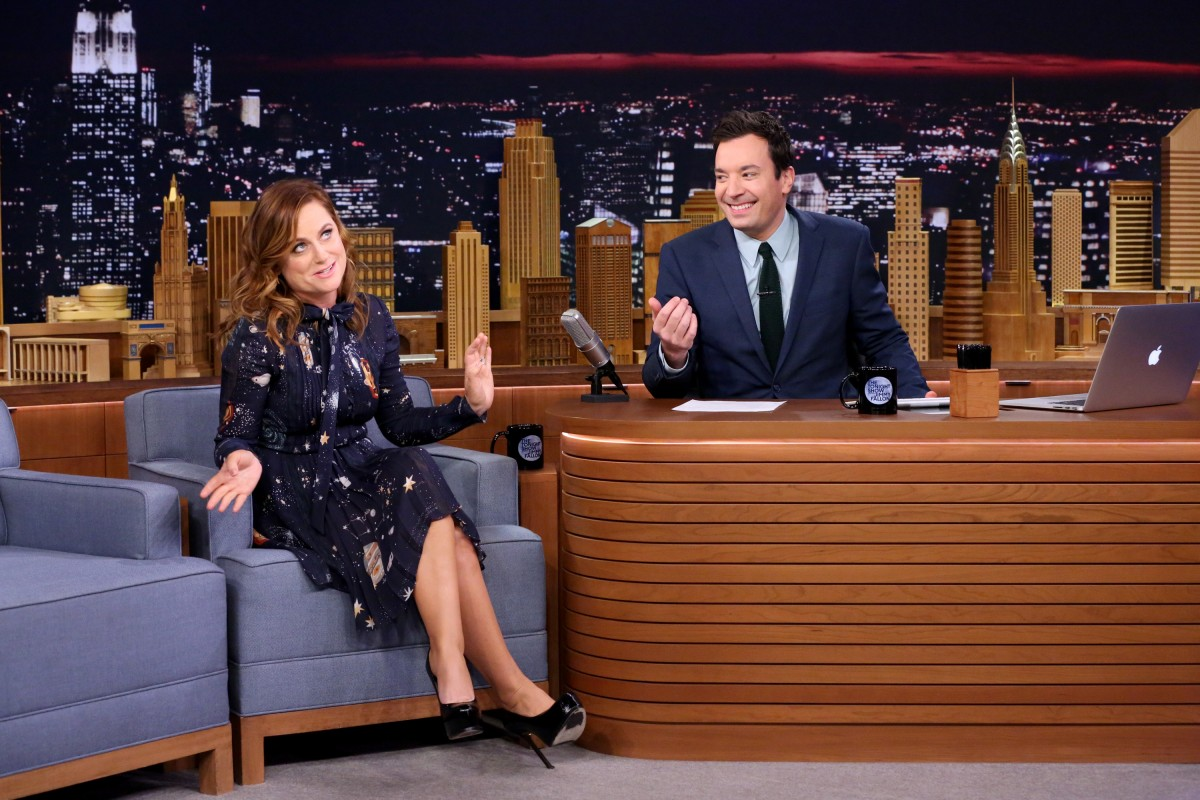 THE TONIGHT SHOW STARRING JIMMY FALLON -- Episode 0384 -- Pictured: (l-r) Actress Amy Poehler during an interview with host Jimmy Fallon on December 9, 2015 -- (Photo by: Douglas Gorenstein/NBC)