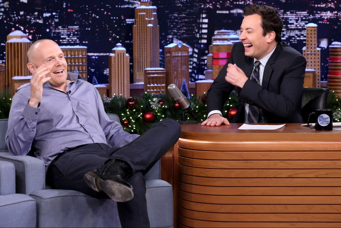 THE TONIGHT SHOW STARRING JIMMY FALLON -- Episode 0388 -- Pictured: (l-r) Comedian Bill Burr during an interview with host Jimmy Fallon on December 15, 2015 -- (Photo by: Douglas Gorenstein/NBC)