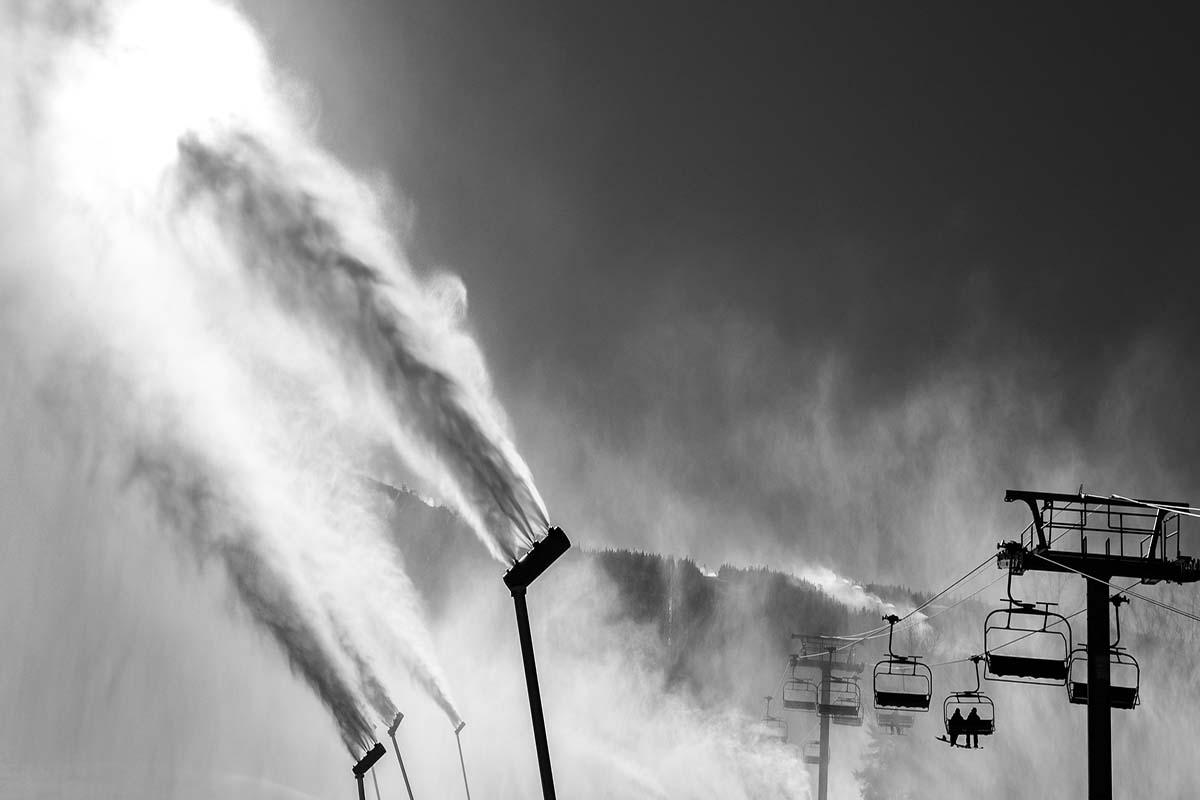 Sugarloaf fires up its snowguns. Photo via Sugarloaf