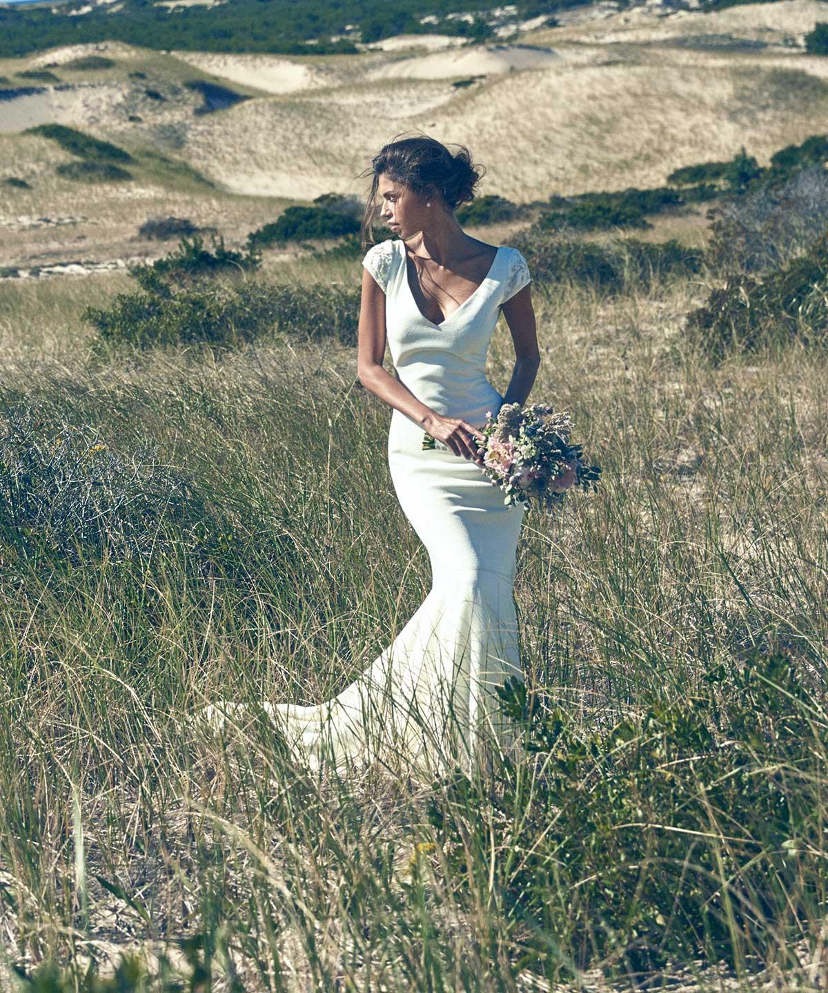 """Atelier Pronovias """"Irune"""" crepe gown with beading"""