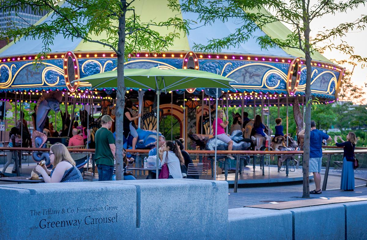 rose kennedy greenway caroling at the carousel
