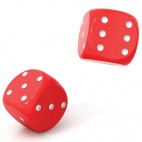 Red dice on a white background.