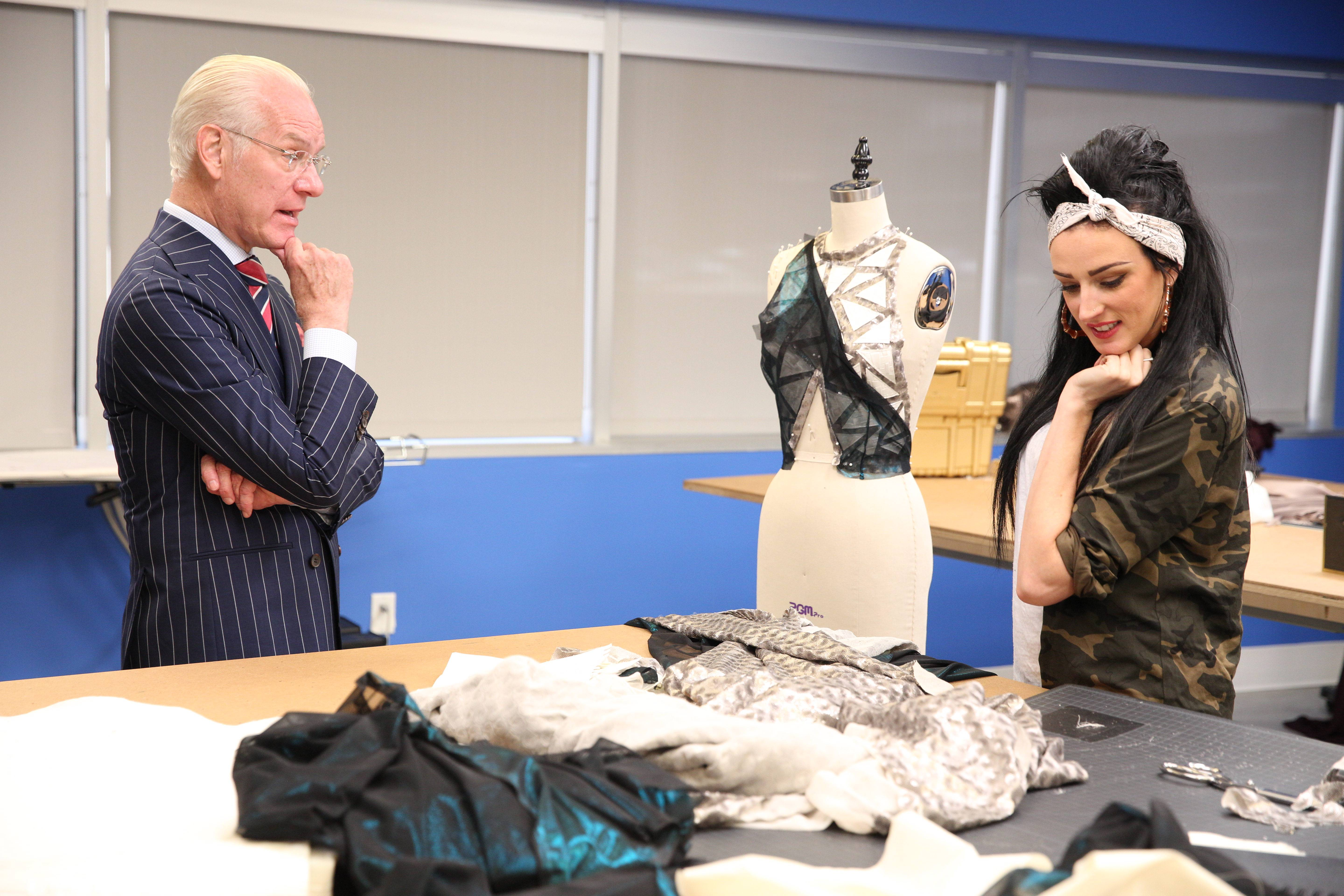 (L to R) Tim Gunn and Kelly Dempsey during the twelfth challenge of Project Runway season 14, airing Thursday, October 22, at 9pm ET/PT on Lifetime. Photo by Barbara Nitke Copyright 2015