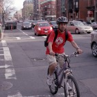 Boston cyclist bikes sq